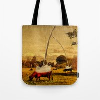 cows Tote Bags featuring Cows by Gil Finkelstein