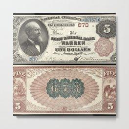 1882 U.S. Federal Reserve Five Dollar Warren, Rhode Island Bank Note Metal Print
