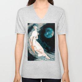Teal Moon Unisex V-Neck