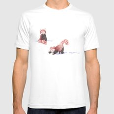 Red Pandas in the Snow White MEDIUM Mens Fitted Tee