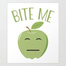 Cool Emoticon Bite Me Apple Art Print
