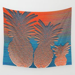 Vintage Copper Sunset Pineapples Wall Tapestry
