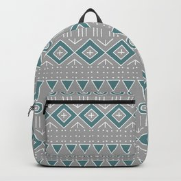 Mudcloth Style 2 in Gray and Teal Backpack