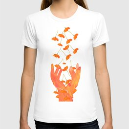 Wonderful Poppy Flowers Orange Coral Color White Background #decor #sociey6 #buyart T-shirt