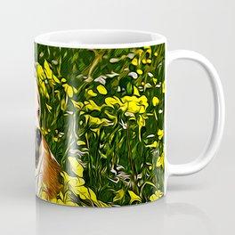 beagle dog flower field vector art Coffee Mug