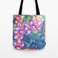orchid Tote Bags featuring Orchid Splash by Vikki Salmela