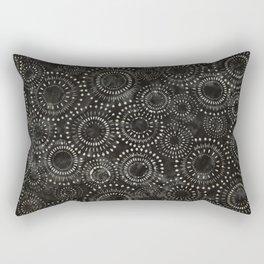 Black and White Circles Watercolor Pattern Rectangular Pillow