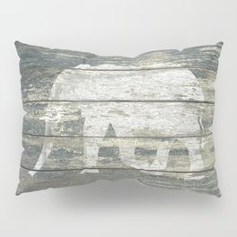 White Elephant Silhouette on Teal Wood A215C Pillow Sham