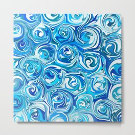 Aqua Blue Swirling Water Abstract Metal Print