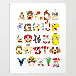 Super Mario Alphabet Art Print