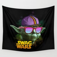 swag Wall Tapestries featuring Yoda Swag by Heretic