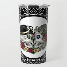 Mandala Kissing Skulls Travel Mug
