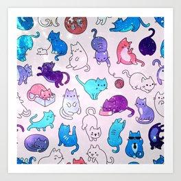 Space Cats Pattern Art Print