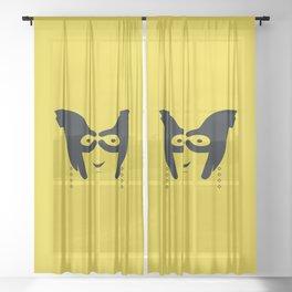 Hand Gesture Yellow Sheer Curtain