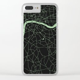 London Black on Green Street Map Clear iPhone Case