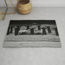 This Cult is Not a Cult! humorous black and white photograph Rug