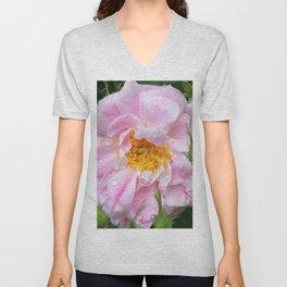 Pink Rose in the Rain Unisex V-Neck