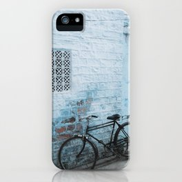 Bike Against Blue Wall in the Blue City Jodhpur, Rajasthan, India | Travel Photography | iPhone Case