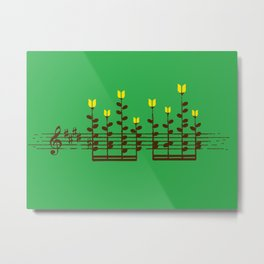 Music notes garden Metal Print