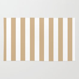 Narrow Vertical Stripes - White and Tan Brown Rug