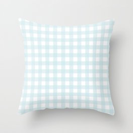 Baby blue gingham pattern Throw Pillow