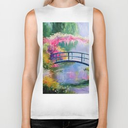 Pond in the garden of Monet Biker Tank