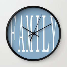 Family word on placid blue background Wall Clock