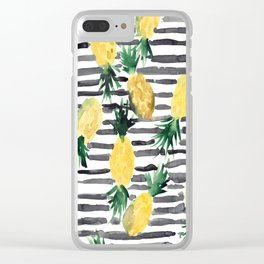 fresh pineapples on stripes watercolor Clear iPhone Case