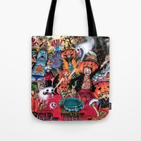 one piece Tote Bags featuring Halloween in One Piece by Borsalino
