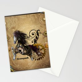 Wild steampunk horse with clocks and gears Stationery Cards