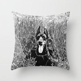 doberman dog red flowers meadow vector art black white Throw Pillow