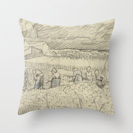 Landscape with Peasant Women Harvesting Throw Pillow