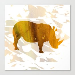 Colorful Art Rhino Abstract Yellow Canvas Print