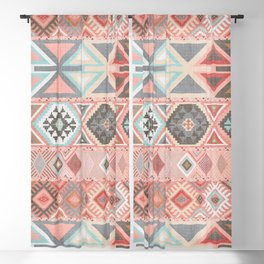 Aztec Artisan Tribal in Pink Blackout Curtain