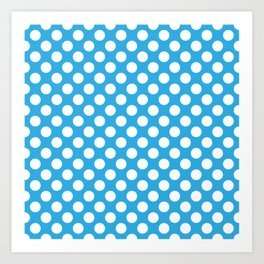 White Polka Dots with Blue Background Art Print