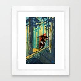 RETRO MOUNTAIN BIKE POSTER LOG JUMPER Framed Art Print