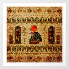 Egyptian Horus Ornament on Papyrus Art Print