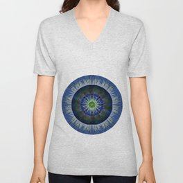 Mandala in Blue and Yellow Unisex V-Neck