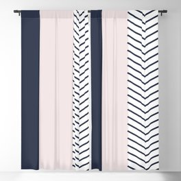 Navy Blush and Grey Arrow Blackout Curtain