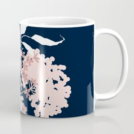 Festive, Wildflowers, Floral Print, Navy Blue and Pink Coffee Mug