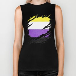 Nonbinary Pride Flag Ripped Reveal Biker Tank