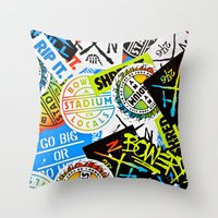sticker Throw Pillows featuring Sticker Collage by Chris Klemens