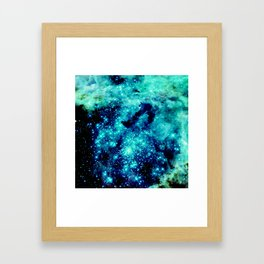 GALAXY. Teal Aqua Stars Framed Art Print