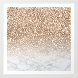 Sparkle - Gold Glitter and Marble Art Print