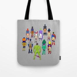 Superhero Butts - Power Couple on Grey Tote Bag