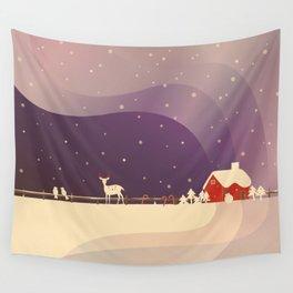 Peaceful Snowy Christmas (Plum Purple) Wall Tapestry