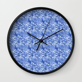 ANTIQUE FLORAL GEOMETRY PATTERN - doodle in blue & sky blue Wall Clock
