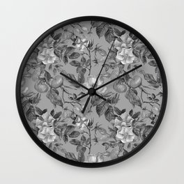 Vintage hand painted black gray watercolor roses floral Wall Clock