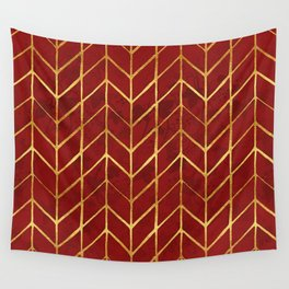 Gold Foil Herringbone on Dark Red Ivy Watercolor Pattern Wall Tapestry