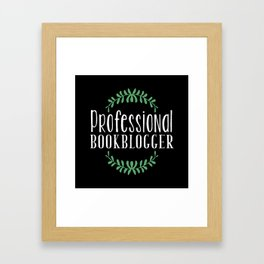 Professional Bookblogger - Black w Green Framed Art Print
